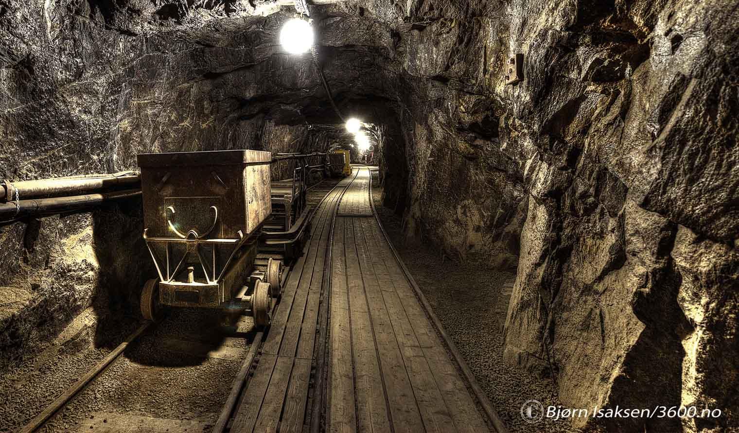 Hvor langt inn i gruvene går gruvetoget?